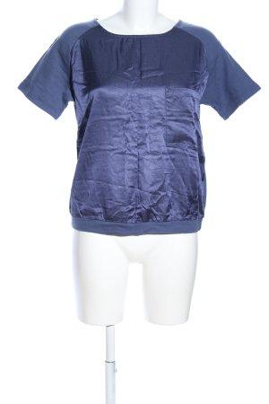 Benetton Kurzarm-Bluse blau Casual-Look