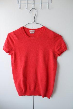 Benetton Short Sleeve Sweater red angora wool