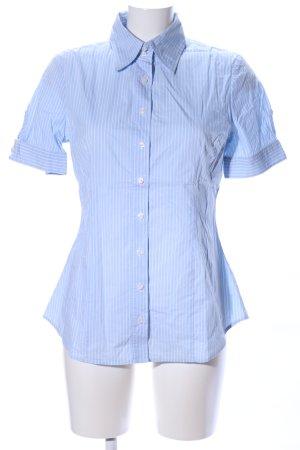 Benetton Chemise à manches courtes bleu-blanc motif rayé style d'affaires