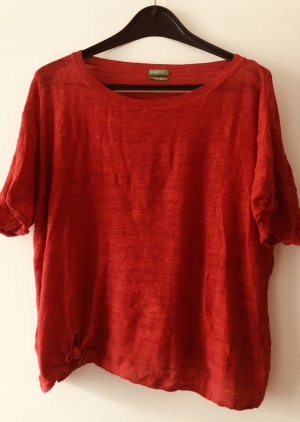 Benetton Knitted Jumper red cotton