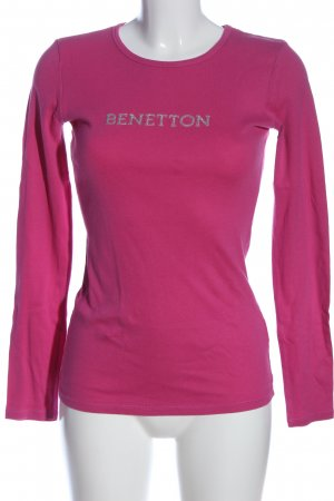 Benetton Longsleeve pink-silberfarben Schriftzug gedruckt Casual-Look