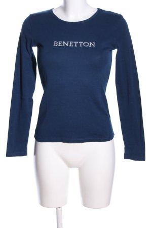 Benetton Longsleeve blau Schriftzug gedruckt Casual-Look