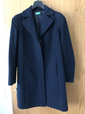 Benetton Winter Coat dark blue mixture fibre