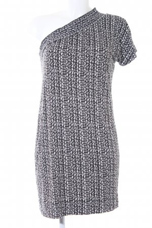 Benetton One-Shoulder-Kleid weiß-schwarz abstraktes Muster Casual-Look