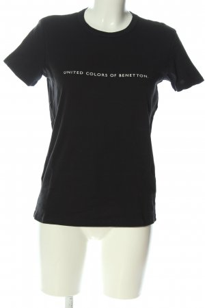 Benetton T-shirt imprimé noir-blanc imprimé avec thème style décontracté