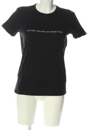Benetton Print-Shirt schwarz-weiß Motivdruck Casual-Look