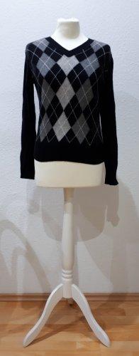 Benetton Pullover 100% Wolle schwarz grau kariert Luxus Basic Blogger Casual Grösse 36
