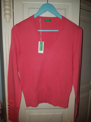Benetton Pullover mit V-Ausschnitt Gr. S - Pinker Pullover