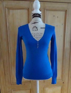 Benetton V-Neck Sweater neon blue cotton