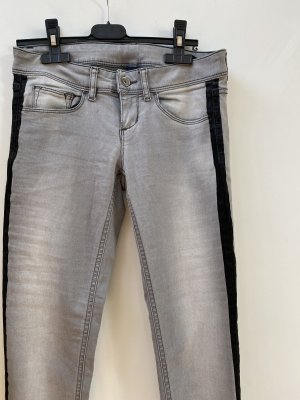 Benetton Jeans skinny gris clair-noir coton