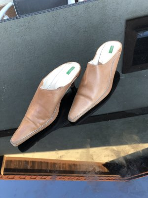 Benetton Slipper, Leder braun, Gr 37
