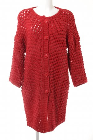 Benetton Strickjacke rot Lochstrickmuster Casual-Look