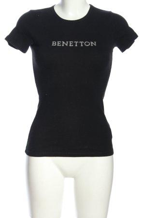 Benetton T-Shirt schwarz Schriftzug gedruckt Casual-Look