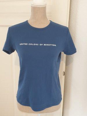 Benetton T-shirt bleu-bleu fluo coton