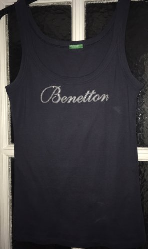 Benetton Tank Top dark blue-silver-colored cotton