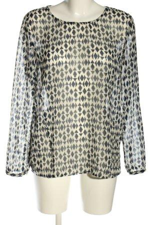 Benetton Transparenz-Bluse weiß-schwarz grafisches Muster Casual-Look