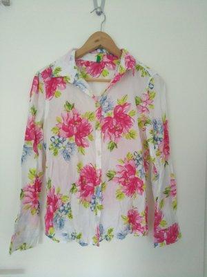 Benetton - weiße Bluse mit Blümchen