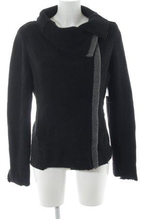 Benetton Wolljacke schwarz-grau Casual-Look