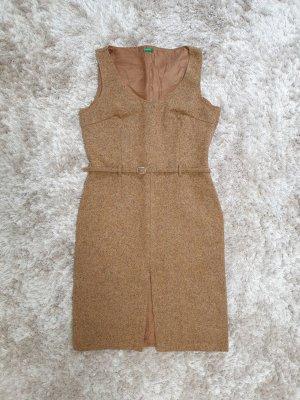 Benetton Wełniana sukienka brąz Wełna