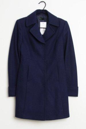 Benetton Wełniany płaszcz ciemnoniebieski-niebieski Wełna