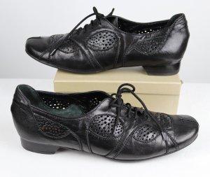 Bequem Flach Schnürschuhe Schuhe Roby & Pier Größe 42 Schwarz Leder Cut Out Luftig Perforation Glattleder