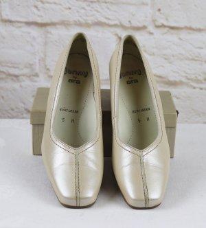 Bequem Lederpumps Schuhe Jenny by ara Größe 5 38 H Perlmutt Schimmer Nude Hellbeige Eckig Trotteur Leder Pumps