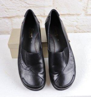 Bequem Pumps Schlüpfschuh Sioux Gr. 4 Rund 36,5 Schwarz Leder Schuhe Loafer