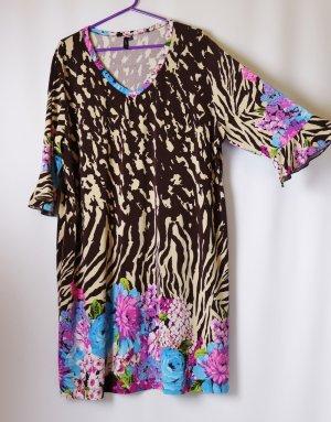 Bequem Shirtkleid Kleid Shirt Tunika Lavelle Größe 48 50 Leo Blumen Muster Print Braun Rosa  Beige Bunt V-Neck Oversize Übergröße Retro