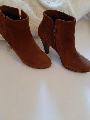 bequeme elegante Ankle Boots, Stiefeletten von PAUL GREEN in 5 1/2 , 38,5 , Velourleder, cognac