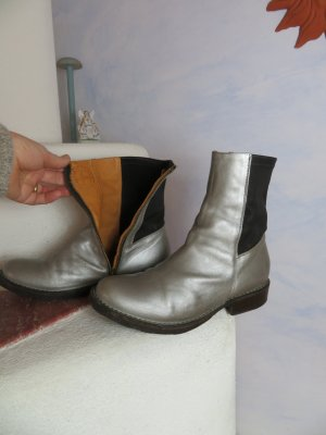bequeme FIORENTINI + BAKER EBE Stiefelette - Chunky Leder High Ankle Boot - Gr. 37 -  Silber Schwarz - Made in Italy