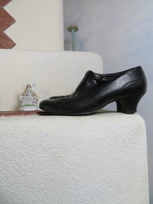 bequeme Handmade Paul Green München Kurz Stiefelette  - Größe 5,5/38 - Schwarz Leder - Absatz Booties - Budapesterlochung