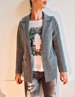 WE Fashion Blazer largo gris antracita-blanco puro