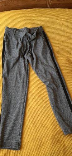 bequeme Karo-Hose mit schwarzem Streifen