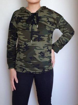 Shirt met capuchon groen-khaki