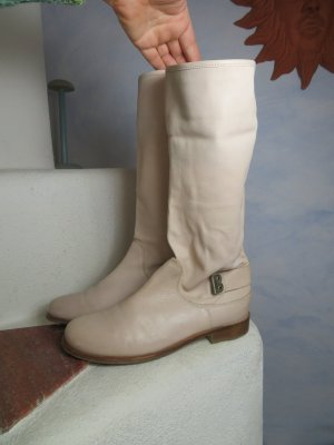 bequeme oXs Leder Stiefel - Creme flache Slouch Stiefelette - Gr. 37,5/38 - Sommer Hippie Style