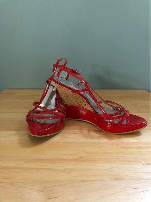 Sandales à plateforme rouge-beige