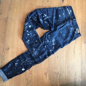 Paige Drainpipe Trousers dark blue-white
