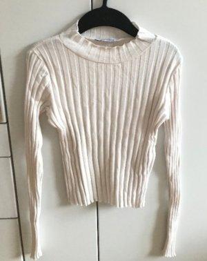 Zara Trafaluc Prążkowana koszulka biały