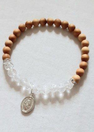 Bergkristall Heilstein Armband, Energiearmband, Sandelholz, Maria
