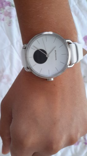 Bergson Watch With Leather Strap white