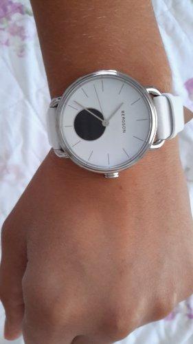 Bergson Horloge met lederen riempje wit