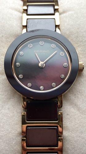Bering Reloj con pulsera metálica color rosa dorado-marrón oscuro metal