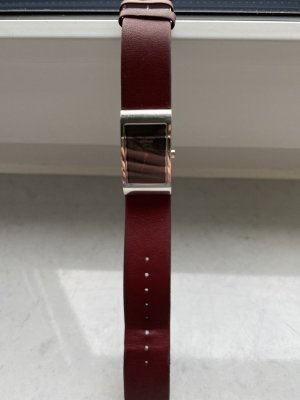 Bering Watch With Leather Strap bordeaux