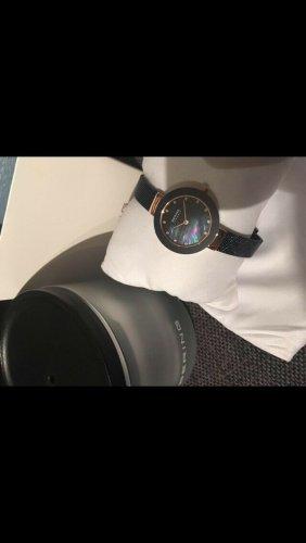 Bering Reloj con pulsera metálica azul oscuro-color oro