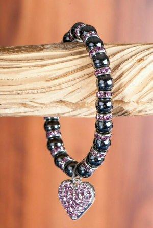 Berk Magnetarmband mit pinken Kristall Steinen und Herz Anhänger wie NEU