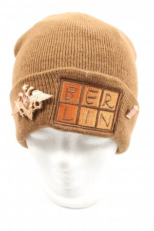 Berlin Knitted Hat brown-light orange embroidered lettering casual look
