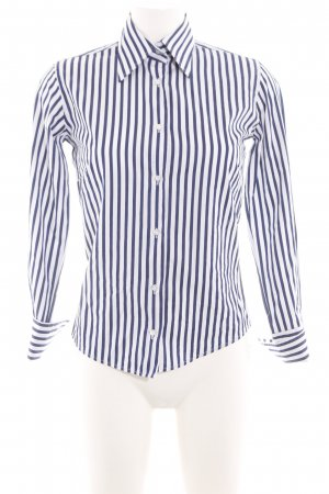 Bernd Berger Hemd-Bluse weiß-blau Streifenmuster Casual-Look
