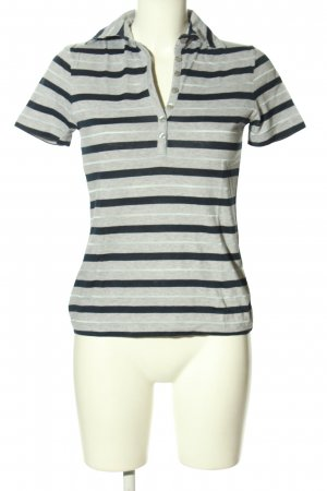 Bernd Berger Polo Shirt light grey-blue striped pattern casual look