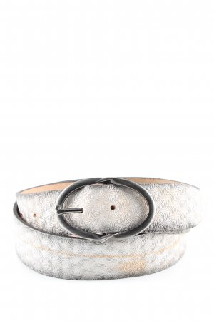 Bernd Götz Leather Belt light grey-nude abstract pattern elegant