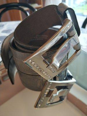 Bernd Götz Leather Belt silver-colored-slate-gray leather